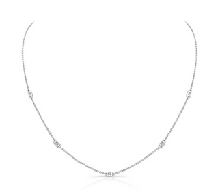 5 Bezel Baguette Diamond Necklace