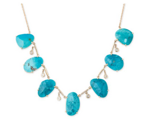 Freeform Turquoise and Diamond Drop Necklace