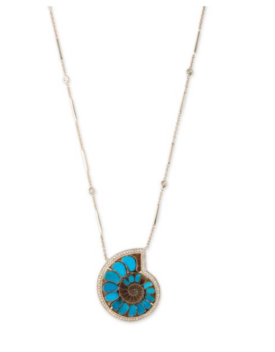 Sleeping Beauty Turquoise Ammonite Necklace
