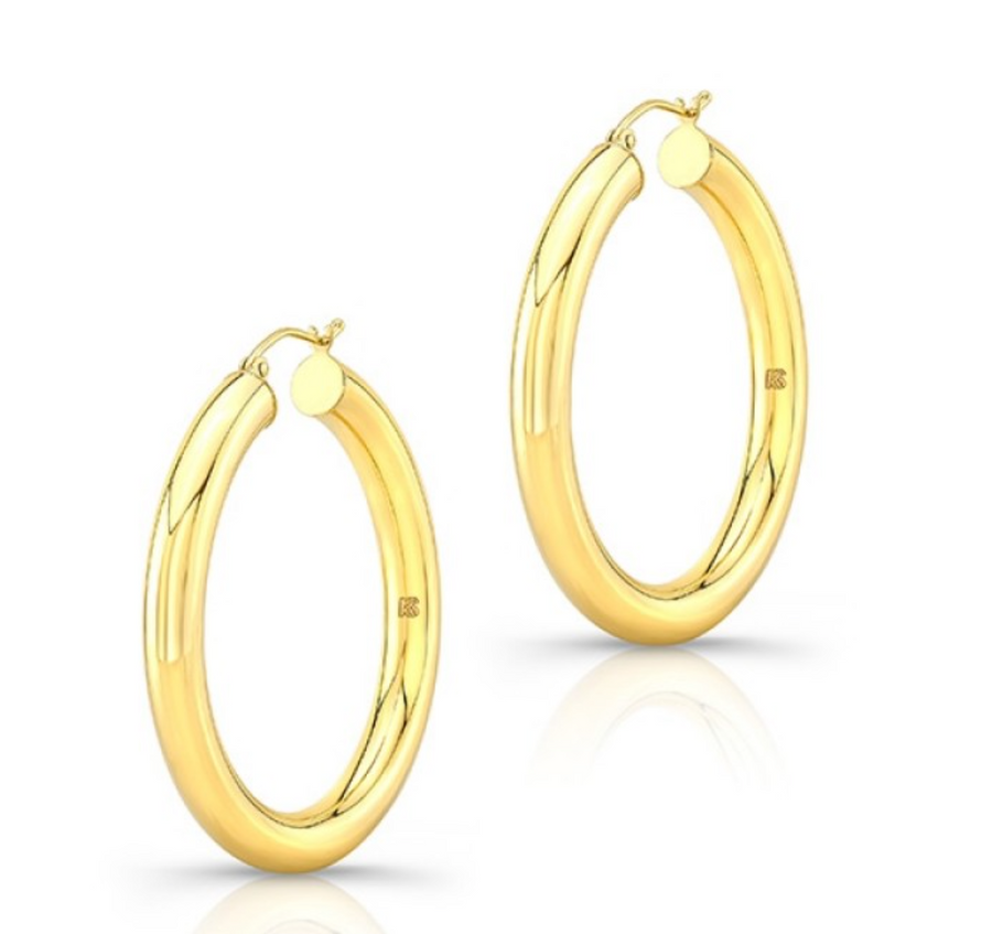 "14K Yellow Gold 1.5"" Tube Hoops - Millo Jewelry"