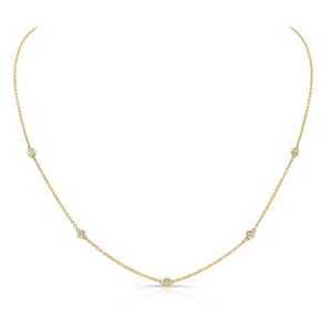 14K Gold 5 Bezel Diamond Necklace