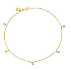 14K Gold 5 Bezel Diamond Anklet