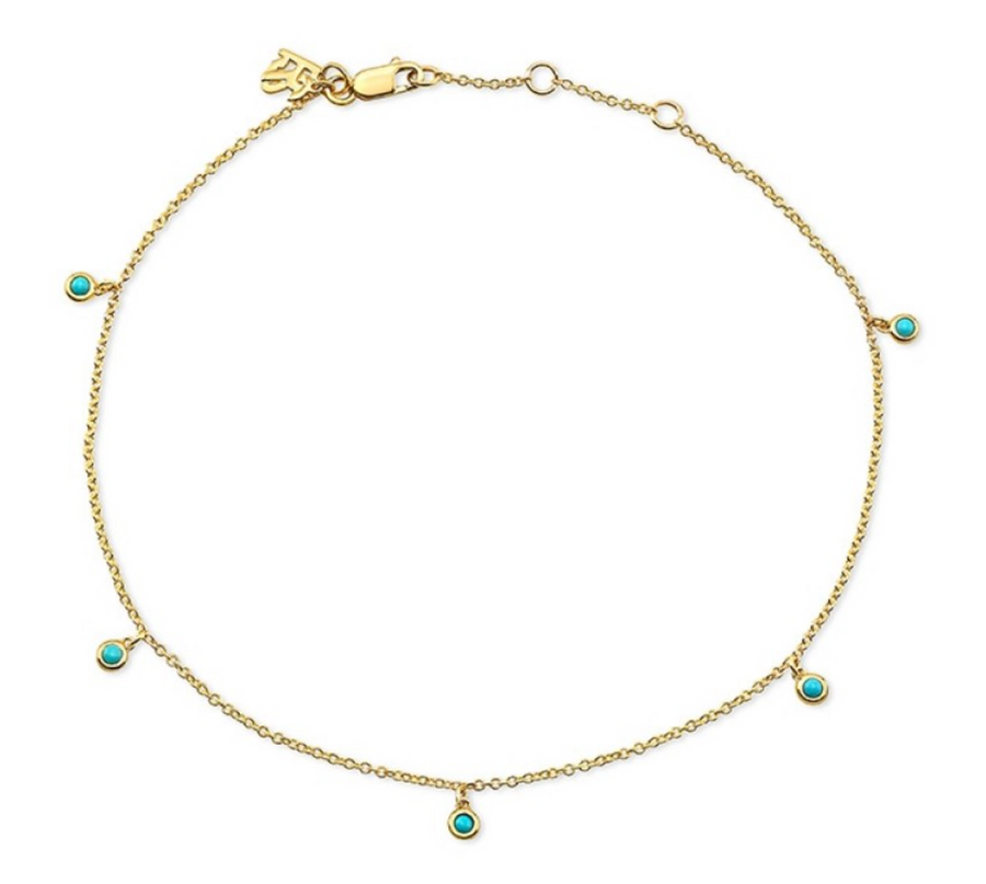 14K Gold 5 Bezel Turquoise Anklet - Millo Jewelry