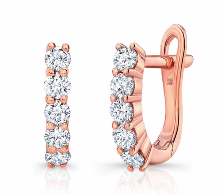 14K Gold Diamond Eternity Huggie Hoops Earring