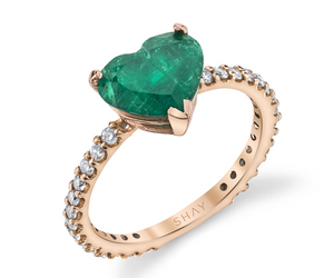 Zambian Emerald Heart Pinky Ring
