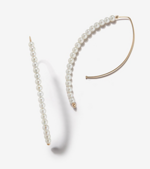 Long Open Marquis Hoop Pearl Earring - Millo Jewelry
