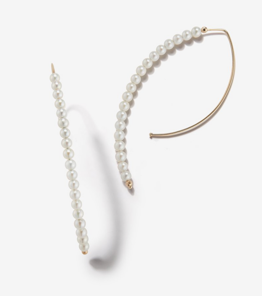 Long Open Marquis Hoop Pearl Earring