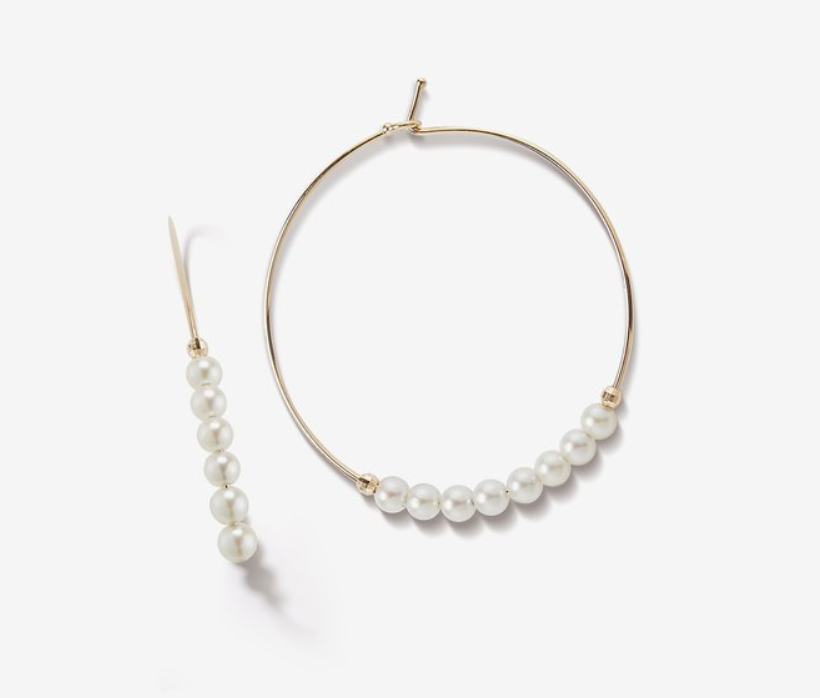 Medium Pearl Hoop - Millo Jewelry