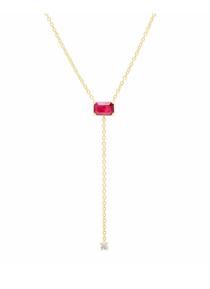 Solitaire Ruby Lariat - Millo Jewelry