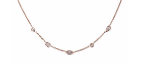 5 Diamond Shapes Spaced Out Choker - Millo Jewelry