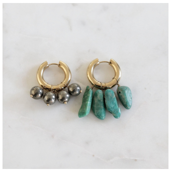 Mismatched Mineral and Metal Earrings BO-3