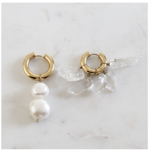 Mismatched Pearl and Crystal Earrings- BO-6