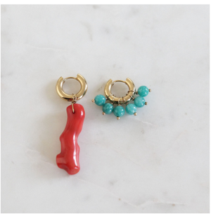 Mismatched Coral and Turquoise Stones Earrings BO-8