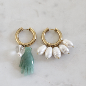 Mismatched Pearl and Turquoise Hand Stone Earrings BO-14