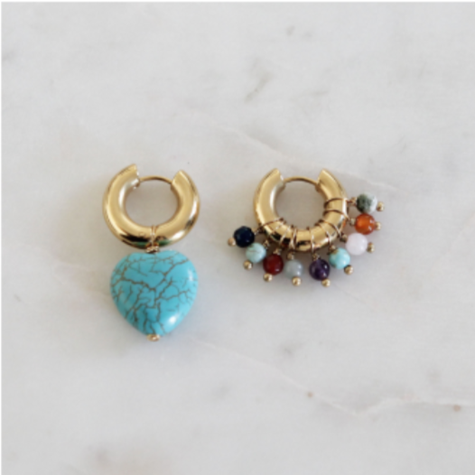 Mismatched Multi Color Stones and Turquoise Stone Earrings BO-33