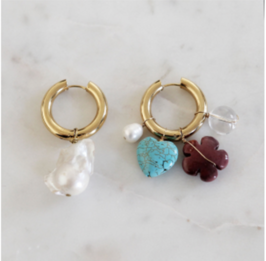 Mismatched Pearl and Mineral Stone Earrings BO-58