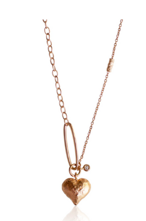 Love Heart Necklace with Single Solitaire - Millo Jewelry