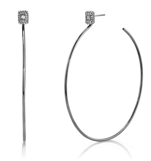 PAVE BAGUETTE DROP HOOPS - Millo Jewelry