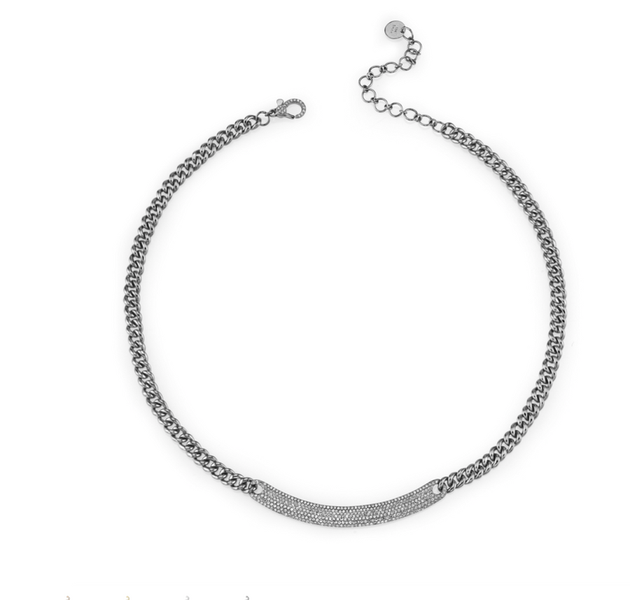 CURVED ID BAR LINK NECKLACE