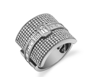 MIXED DIAMOND BUCKLE RING