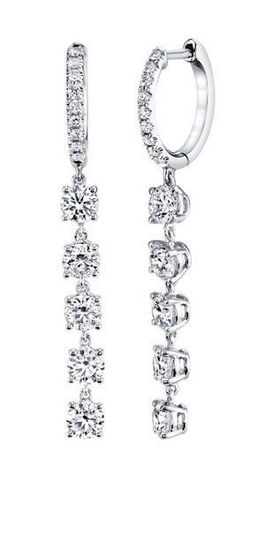 Huggies w/ 5 Round Diamond Drops - Millo Jewelry