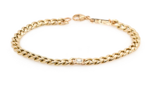 14kt Gold Medium Curb Chain Bracelet with Single Floating Diamond