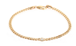 14kt Gold Small Curb Chain Bracelet with Single Floating White Diamond