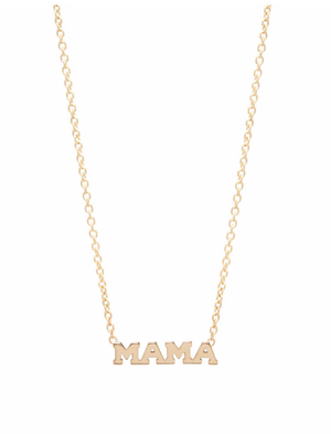 14kt Gold Itty Bitty MAMA Necklace - Millo Jewelry