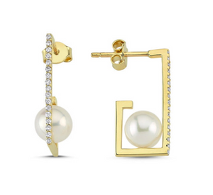 Delicate Edge Pearl Earrings