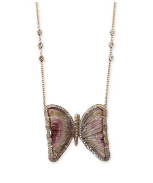 WATERMELON TOURMALINE BUTTERFLY NECKLACE - Millo Jewelry