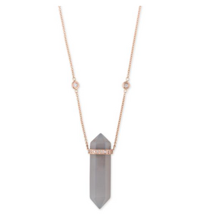 MOONSTONE DOUBLE POINT CRYSTAL NECKLACE