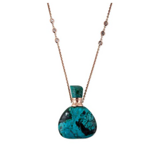 TURQUOISE TRIANGLE POTION BOTTLE NECKLACE