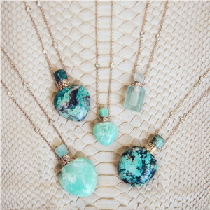TURQUOISE TRIANGLE POTION BOTTLE NECKLACE - Millo Jewelry