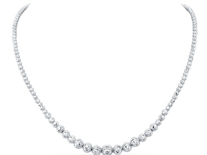 14K WHITE GOLD GRADUATED DIAMOND CUT BEAD NECKLACE