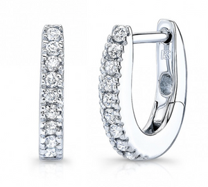 14K Diamond Huggie Hoops With Security Latch
