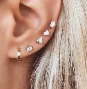 Floating Emerald Cut Diamond Stud 14K