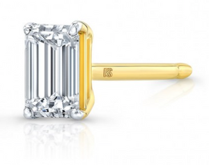14K FLOATING EMERALD CUT DIAMOND STUD