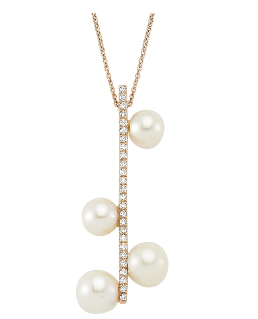 Pave Bar Pearl Droplet Necklace
