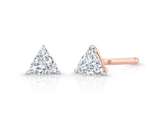 14K GOLD SINGLE FLOATING TRILLION CUT DIAMOND STUD
