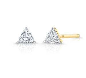 14K Gold Single Floating Trillion Cut Diamond Stud - Millo Jewelry