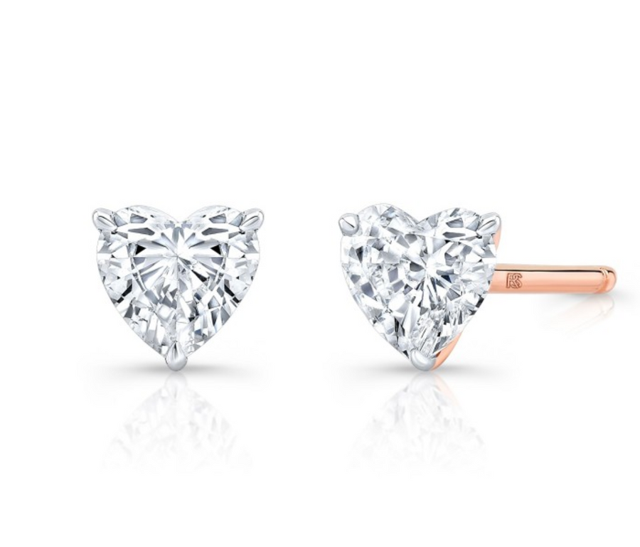 14K GOLD SINGLE FLOATING HEART CUT DIAMOND STUD
