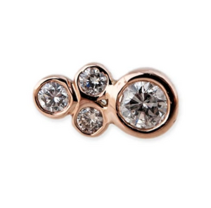 1+3 Diamond Cluster Stud - Millo Jewelry
