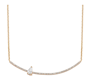 Pear Diamond Arc Necklace - Millo Jewelry