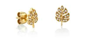 TINY YELLOW-GOLD PAVÉ DIAMOND MONSTERA LEAF STUDS