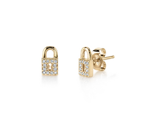 GOLD & PAVÉ DIAMOND SMALL LOCK STUD EARRINGS