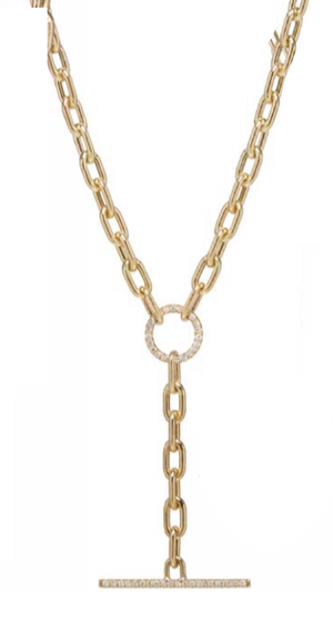 Large Square Oval Link Chain Faux ToggleLariat Necklace