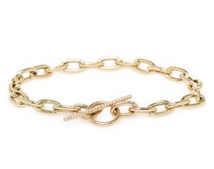 Large Square Oval Link Chain Bracelet with White Pavé Diamonds Across Toggle Bar