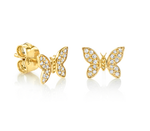 Tiny Butterfly Studs - Millo Jewelry