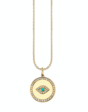 Bezel Evil Eye Medallion with Pave Border - Millo Jewelry