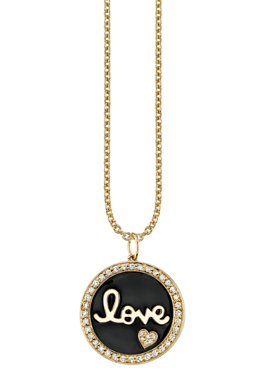 Love Script Tableau Large Medallion with Pave Border - Millo Jewelry